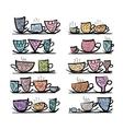 Ornate mugs on shelves sketch for your design vector image vector image