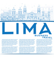 Outline Lima Skyline with Blue Buildings vector image vector image