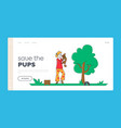 owner holding dog on hands landing page template vector image vector image