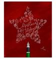 pen line drawing christmas tree toy star red vector image