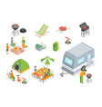 picnic barbecue signs 3d icon set isometric view vector image