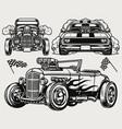 powerful custom cars vintage monochrome concept vector image vector image