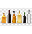 realistic whiskey vodka rum and wine bottles vector image vector image