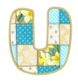 Roundish Font from quilted from multi-colored a