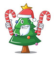 santa with candy christmas tree character cartoon vector image