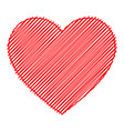 scribbled red heart isolated vector image vector image