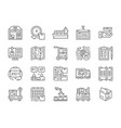 set logistics and delivery line icons vector image