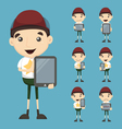 Set of boy and tablet vector image vector image