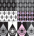 Skull Argyle Seamless Pattern set vector image vector image