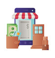 smartphone with tent and wallet with money vector image vector image