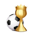 soccer award football ball golden cup vector image vector image