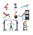 sport exercises flat set vector image vector image