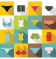Underwear items icons set flat style vector image vector image
