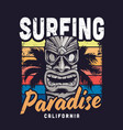 vintage colorful surfing paradise template vector image