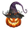 watercolor jack o lantern pumpkin with striped vector image