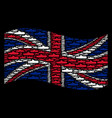 waving uk flag mosaic of submarine items vector image