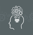 Head With Gears Icon From The Shape of Light Bulbs vector image