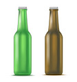 realistic detailed green and brown glass beer vector image