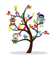 tree with the alphabet and children reading vector image