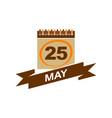 25 may calendar with ribbon vector image vector image