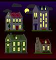 A set flat houses at night