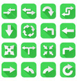 arrows set collection of green icons with web vector image vector image