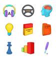 audio training icons set cartoon style vector image vector image
