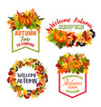 autumn welcome fall leaf acorn icons vector image