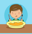 boy eating with fork and knife vector image vector image