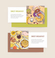 bundle of horizontal banner templates with tasty vector image