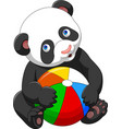 cartoon baby panda playing with colorful ball vector image vector image