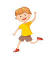 cheerful boy runs with raised hand isolated vector image vector image