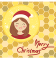 Circle Christmas Girl Bee Hive vector image