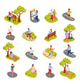 city people isometric set vector image