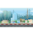 City scene with ferris wheel and buildings vector image