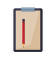 clipboard with pencil stationery supplies flat vector image