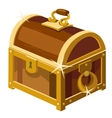 closed antique chest wood and gold vector image vector image