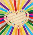 colorful pencils arranged in a heart background vector image