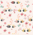 cute cartoon bee couple seamless pattern vector image vector image