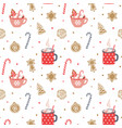 cute hand drawn seamless pattern cozy christmas vector image vector image