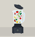 electric blender machine with vegetables and vector image