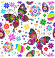 festive bright easter pattern with butterflies vector image vector image