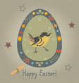 festive easter egg with cute bird from happy vector image