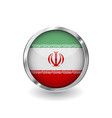 flag of iran button with metal frame and shadow vector image vector image