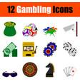 gambling icon set vector image vector image