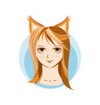 girl in fox costume portrait avatar vector image