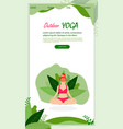 girl in lotus position on green leaves background vector image