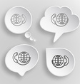 Global communication White flat buttons on gray vector image vector image