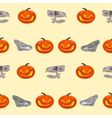 Halloween Seamless texture pumpkin and skull vec vector image