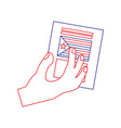 hand with voting ballot catalonia referendum vector image
